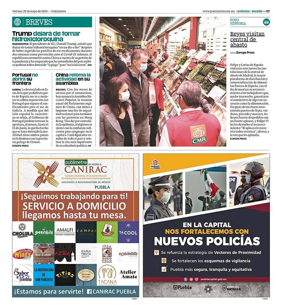 Anuncio Gobierno de Puebla edición Puebla del 22 de mayo del 2020, Página 07