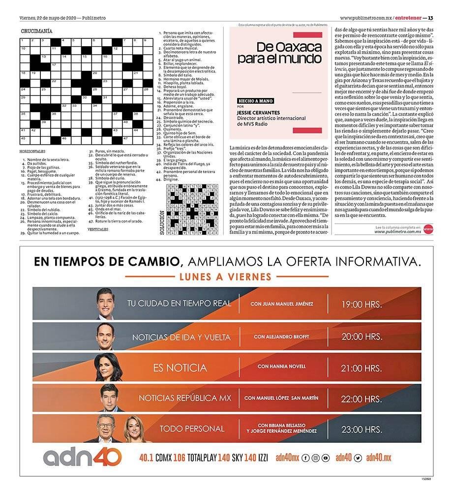 Anuncio ADN40 edición CDMX del 22 de mayo del 2020, Página 13