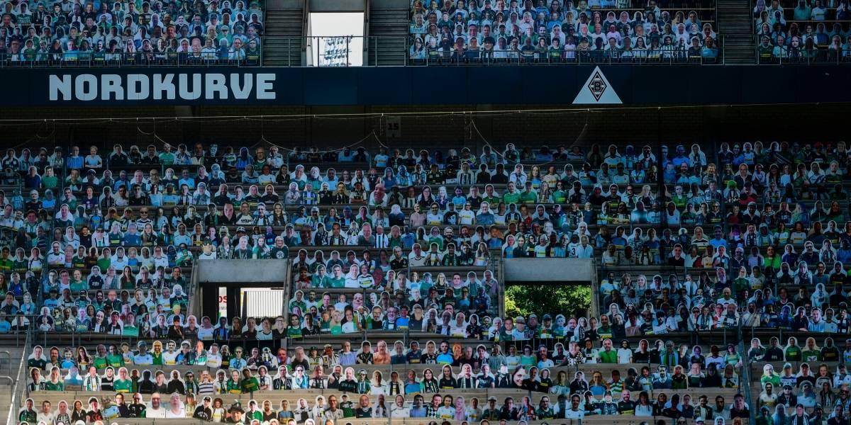 """Borussia Park lleno con """"hinchas de cartón"""" para el partido del Gladbach y el Bayer Leverkusen"""