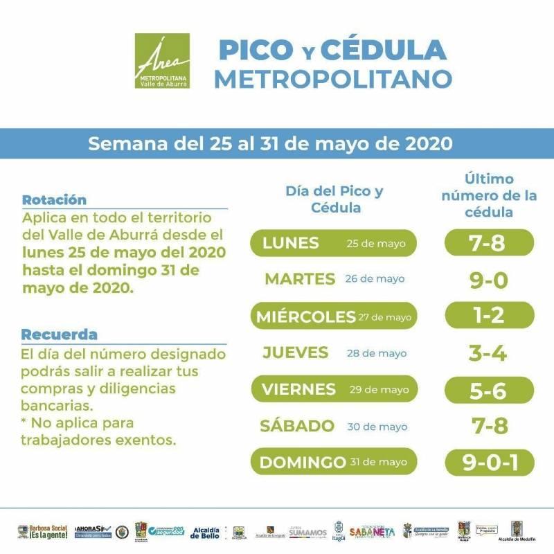 Pico y cédula 25 mayo Medellín