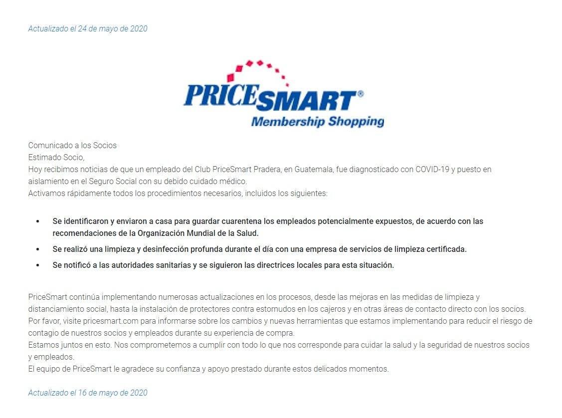 Comunicado de PriceSmart Guatemala sobre caso de COVID-19