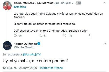 Respuesta Héctor Quiñones salida América