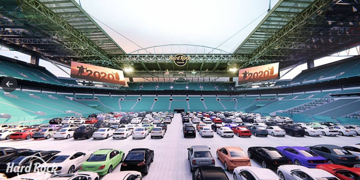 Estadio de Miami Dolphins se transforma en autocinema