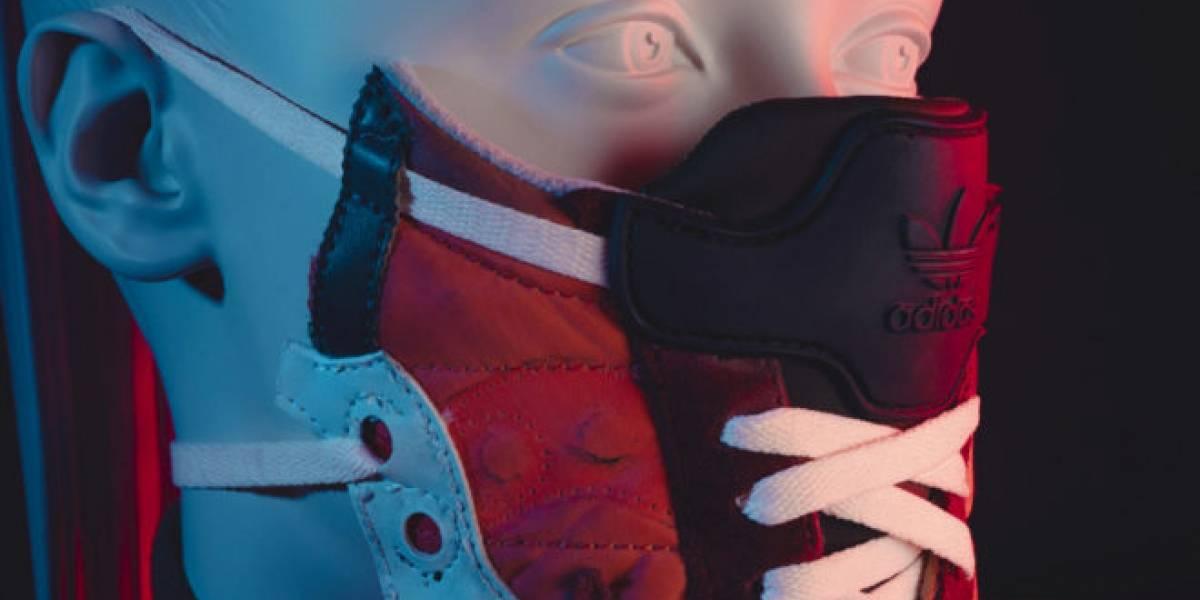 Coronavirus: un diseñador belga creó curiosas mascarillas a base de material de zapatillas