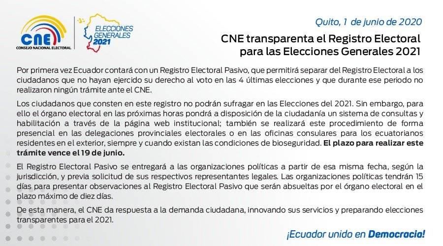 Conoce si pasaste al Registro pasivo del Consejo Nacional Electoral