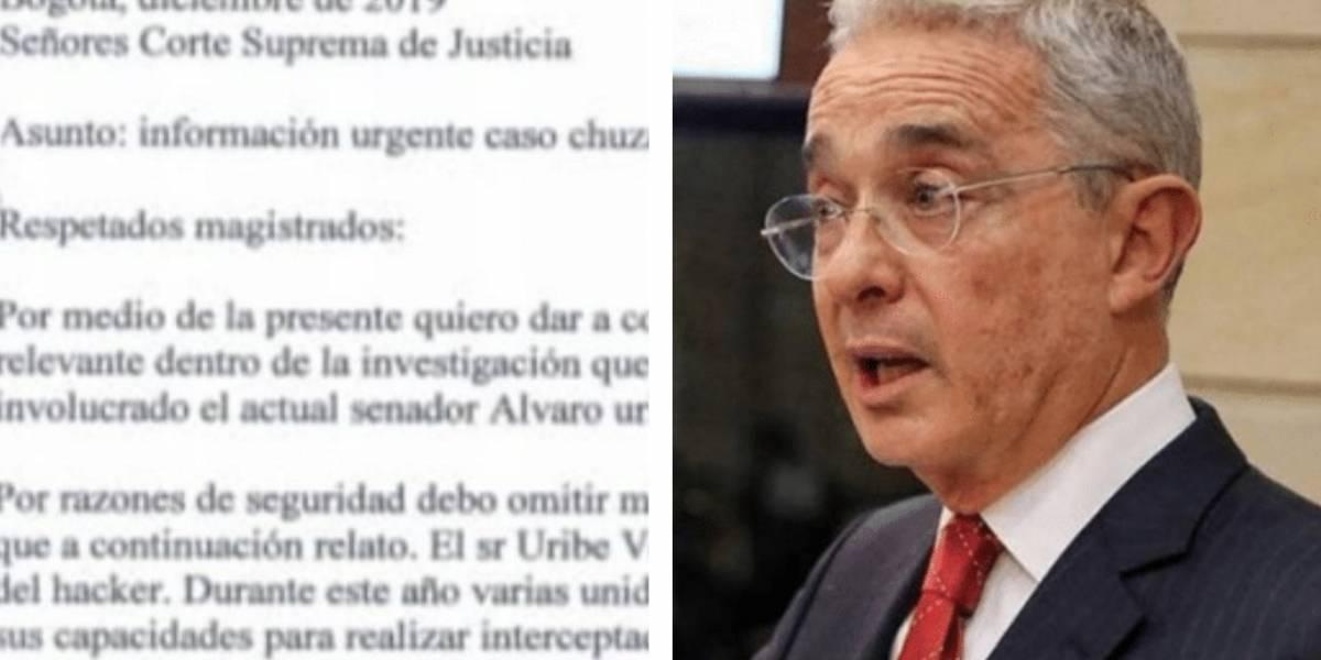 Publican el anónimo por el que hoy Uribe está siendo investigado