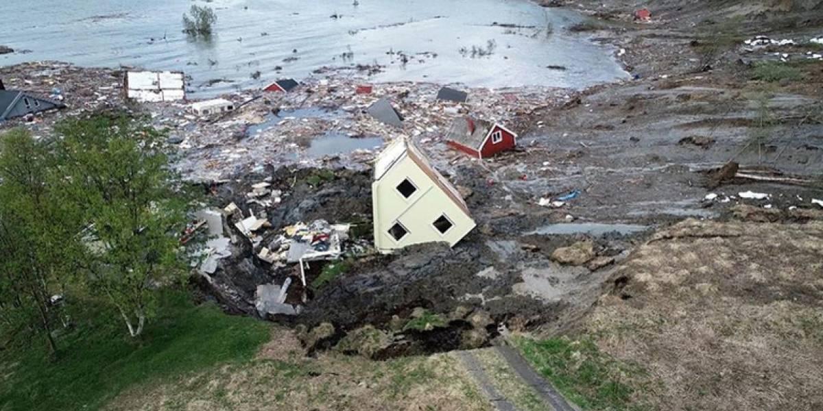 Devastador deslizamiento de tierra arrastró ocho casas en costa de Noruega
