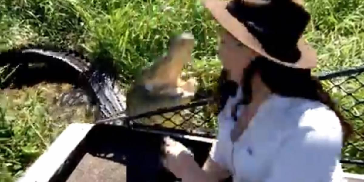 Periodista se tomó selfie al lado de un cocodrilo y se llevó el susto de su vida