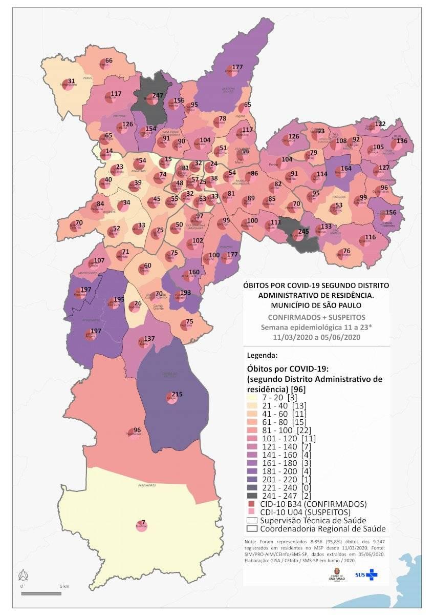 Mapa óbitos por distrito - covid-19 - São Paulo