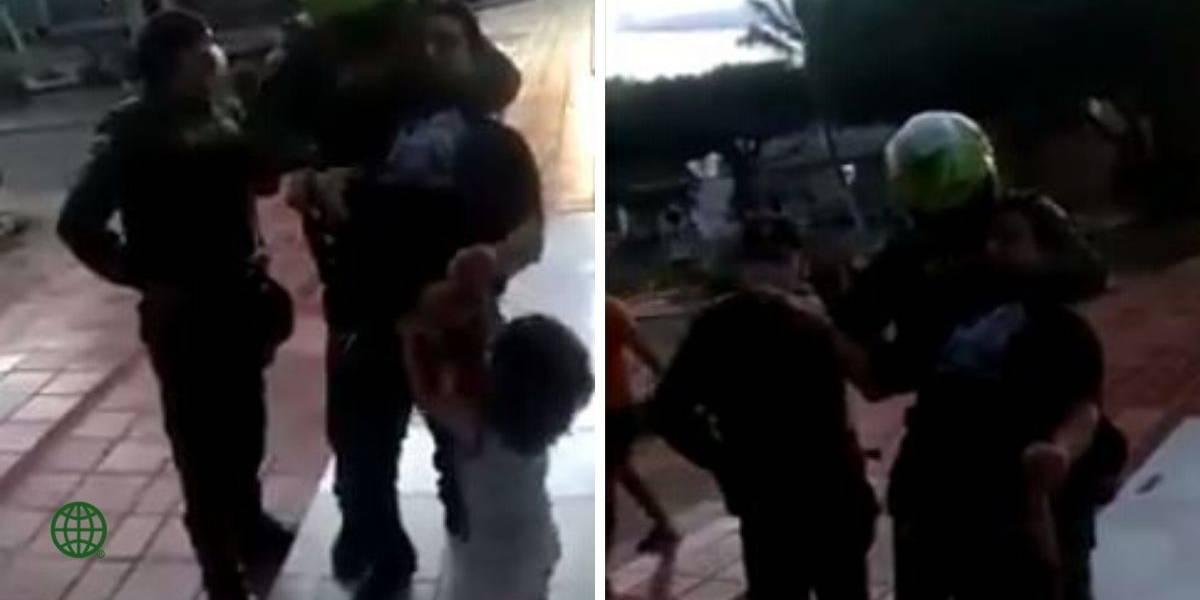 (VIDEO) ¡Indignante! Policía inmoviliza por el cuello a padre que sacó a su hijo al parque