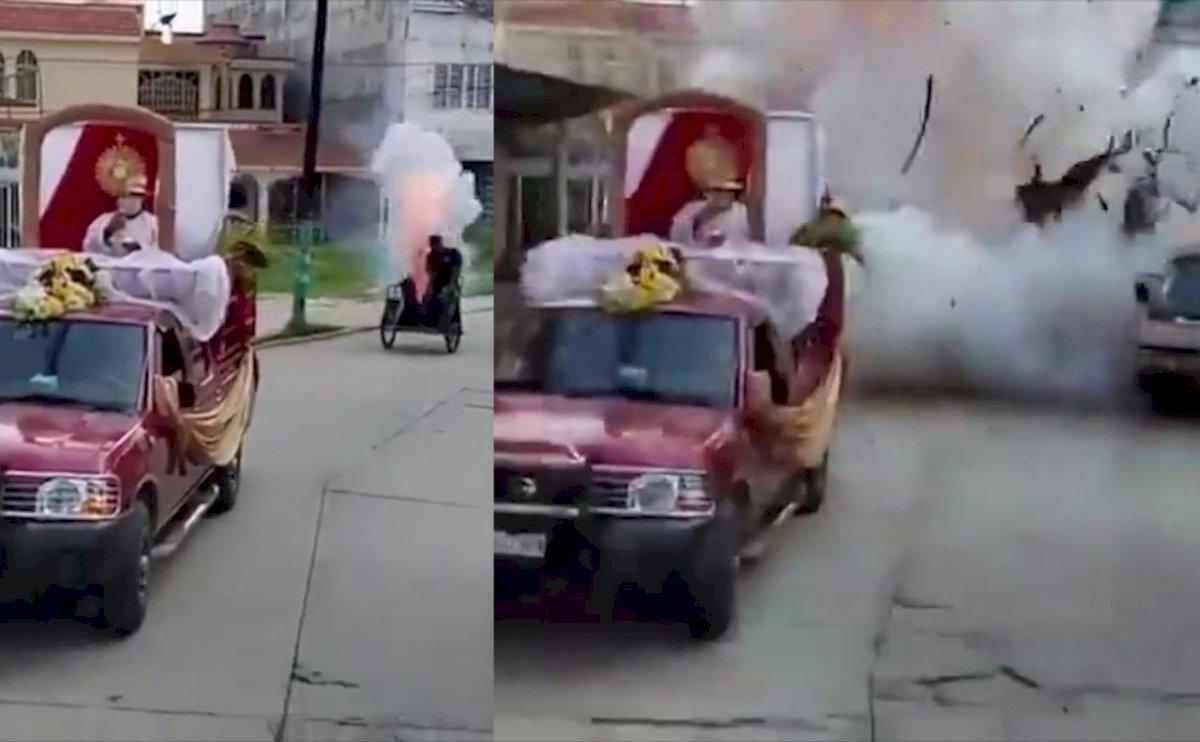 [Video] Fallece en estallido; tiraba cohetes en procesión de Macuspana