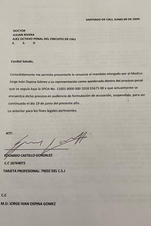 Renuncia abogado de Ospina