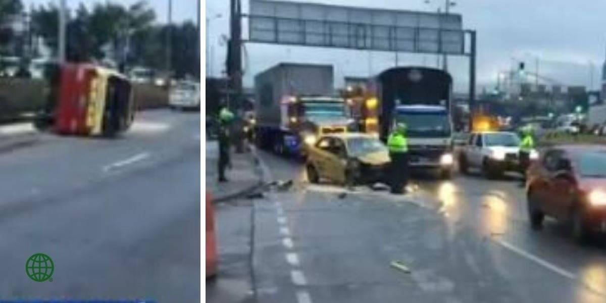 Aparatoso accidente de tránsito deja cuatro personas gravemente heridas en Bogotá