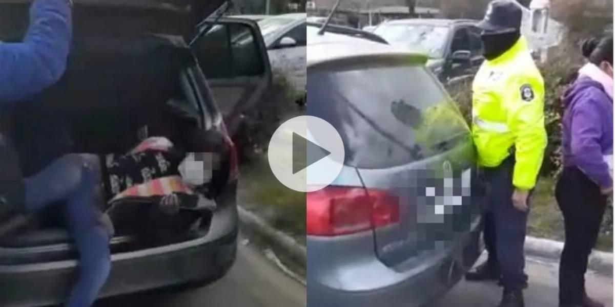 Cuarentena: detuvieron a una pareja que llevaba a sus hijos en el maletero para festejar el cumpleaños del abuelo