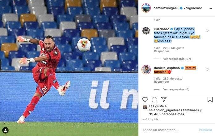 Camilo Zúñiga a David Ospina antes de final de Copa Italia 2019-20