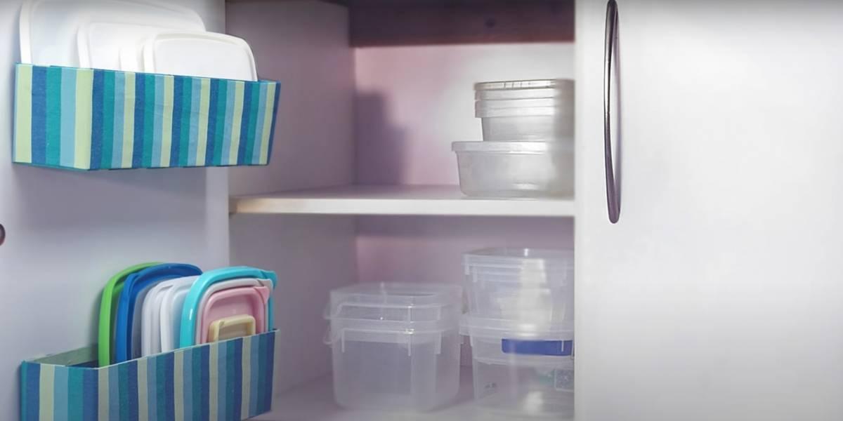 Super dica para arrumar os potes plásticos na cozinha e manter a casa organizada