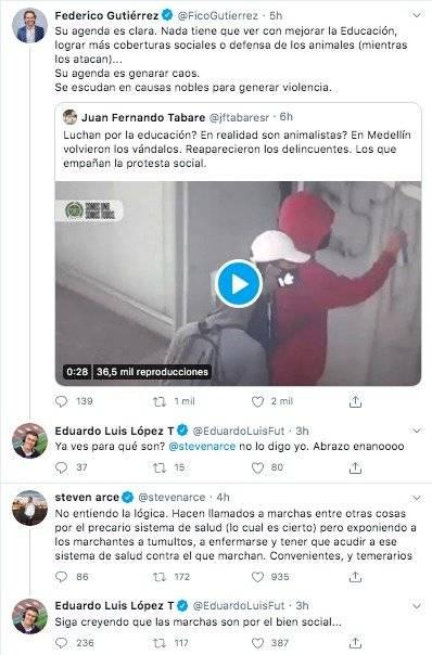 Tuits Eduardo Luis contra protestas