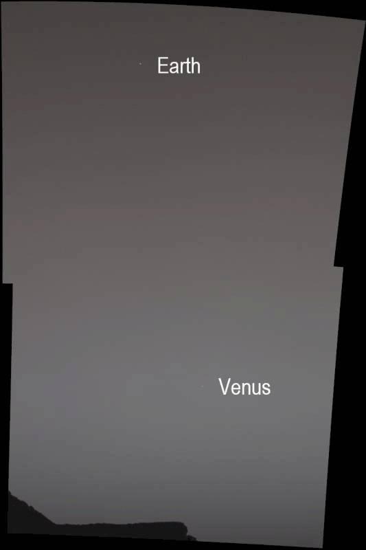 La Tierra y Venus desde Marte