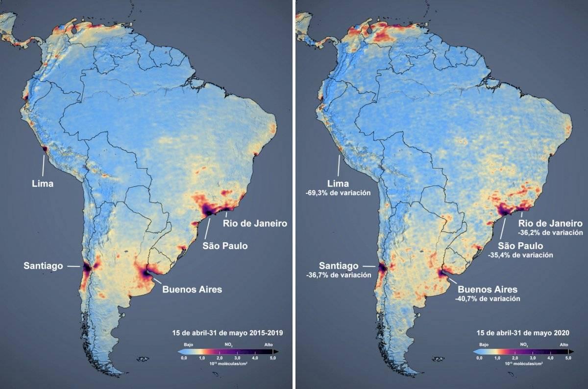 -mapas de la contaminación en Sudamérica