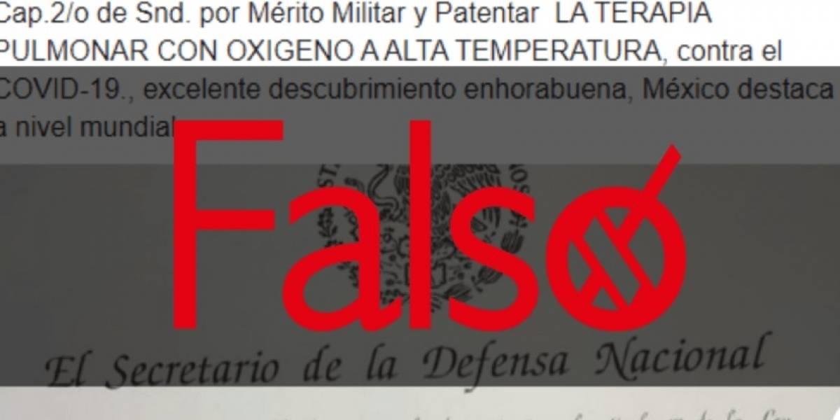 Falso que militar reciba ascenso por patente de terapia contra COVID-19