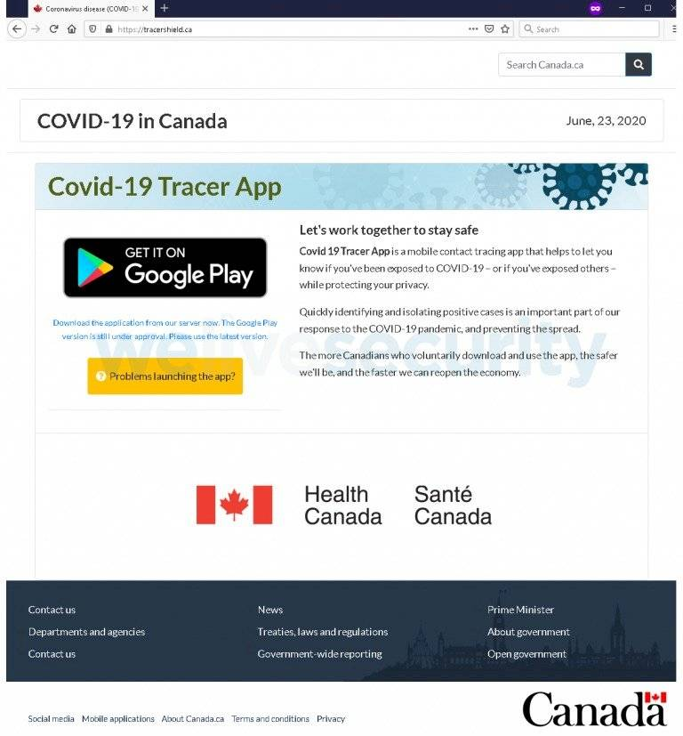 Coronavirus Malware Canadá