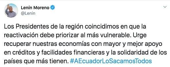 Tuit del presidente Lenín Moreno