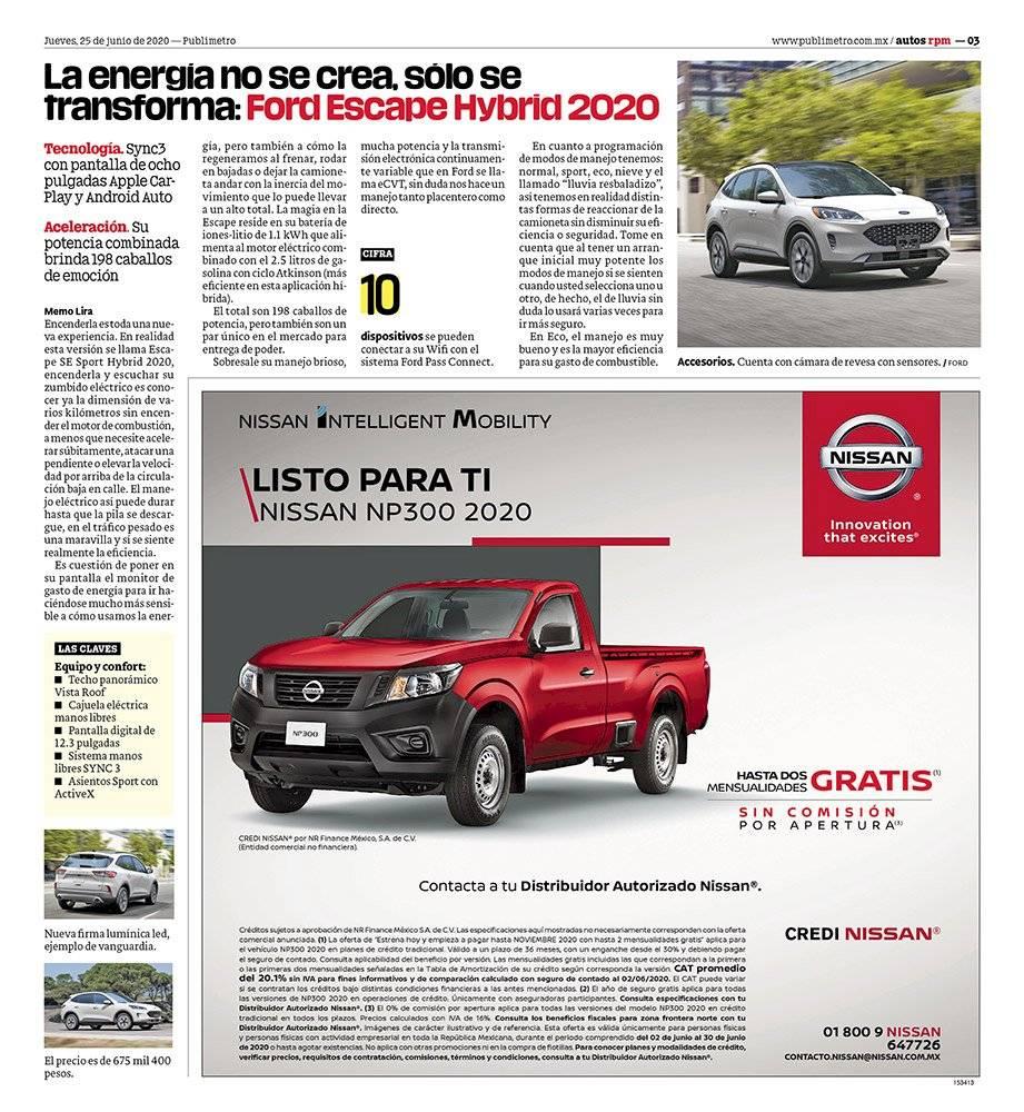 Anuncio Nissan edición CDMX del 25 de Junio del 2020, Página 05