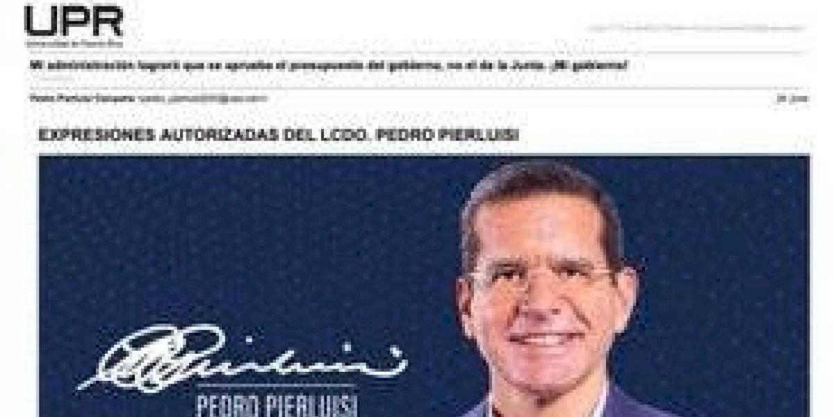 Investigan envío de propaganda de Pierluisi a través de portal de UPR