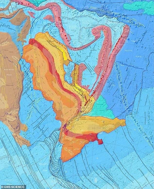 Mapa tectónico de Zelandia