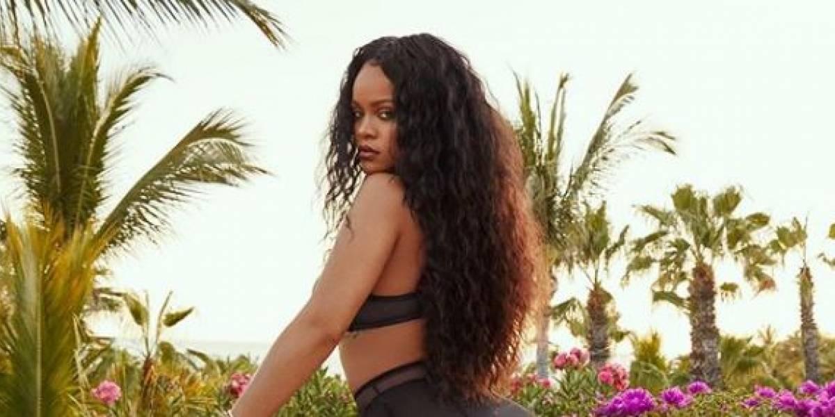 Rihanna infarta con un vestido de cuero y tacones estilo gladiador