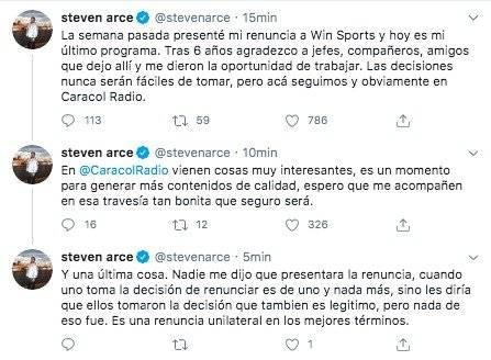 Renuncia Steven Arce a Win Sports