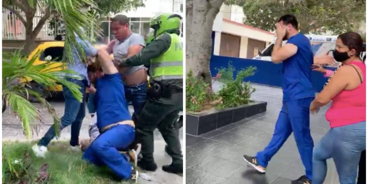 (Video) Con puños y patadas, agreden a médico en Barranquilla