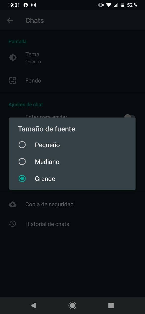 WhatsApp tamaño de fuente