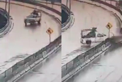 Choque de vehículo de Guardia Nacional