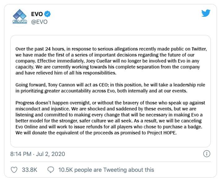 EVO Online cancelado