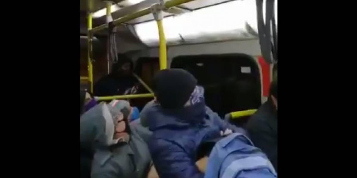 ¿Sanitizados? Ratón sorprende a pasajeros en pleno recorrido de un bus del Transantiago