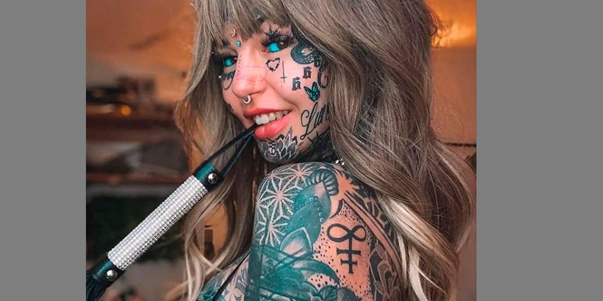 """""""Mulher dragão"""" gasta mais de R$ 600 mil para tatuar e mudar seu corpo"""