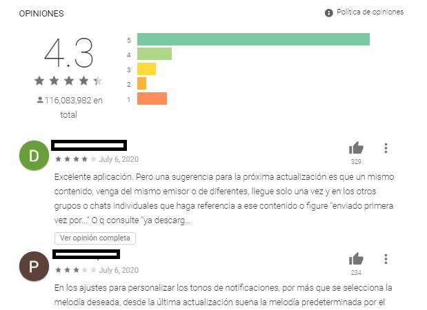 Opiniones Play Store