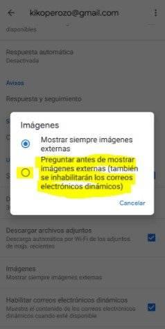 Imágenes Gmail dispositivo móvil