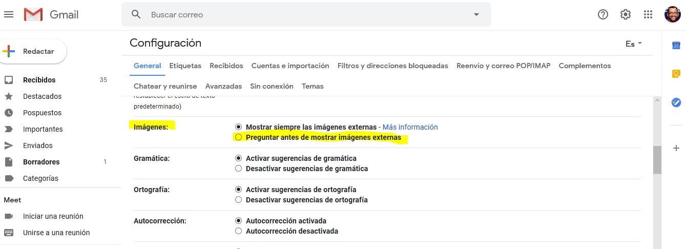 Imágenes Gmail