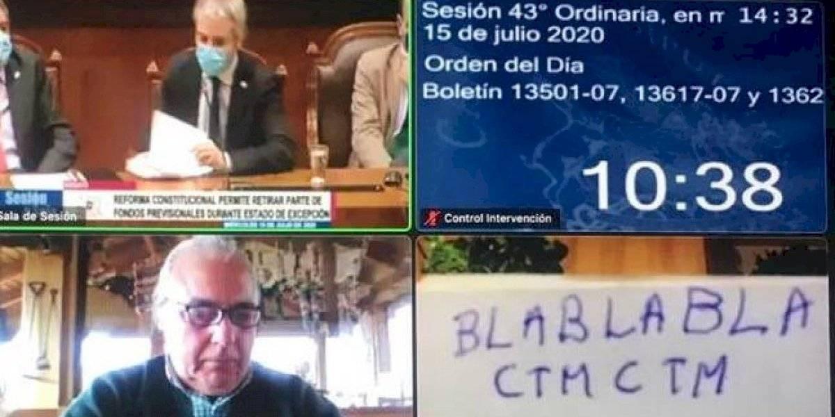 """""""Bla bla bla c..."""": piden sanciones para Florcita """"Motuda"""" Alarcón por exhibir cartel mientras Blumel hablaba en la Cámara"""
