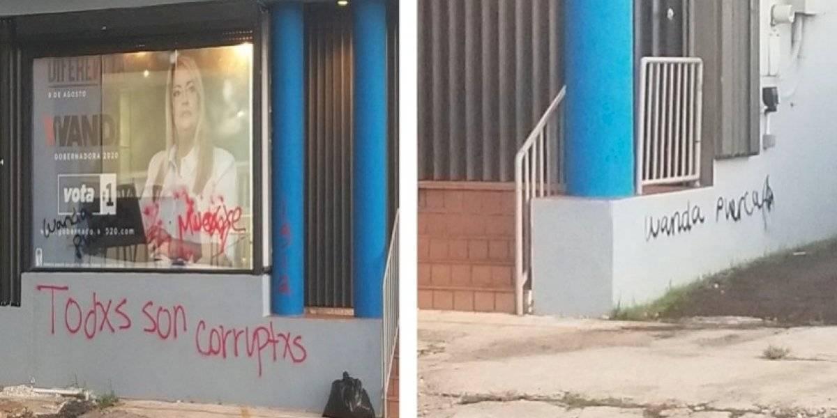 Amanece vandalizado el comité de Wanda Vázquez