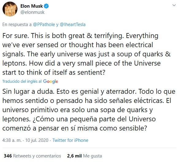Respuesta de Elon Musk sobre el chip cerebral.