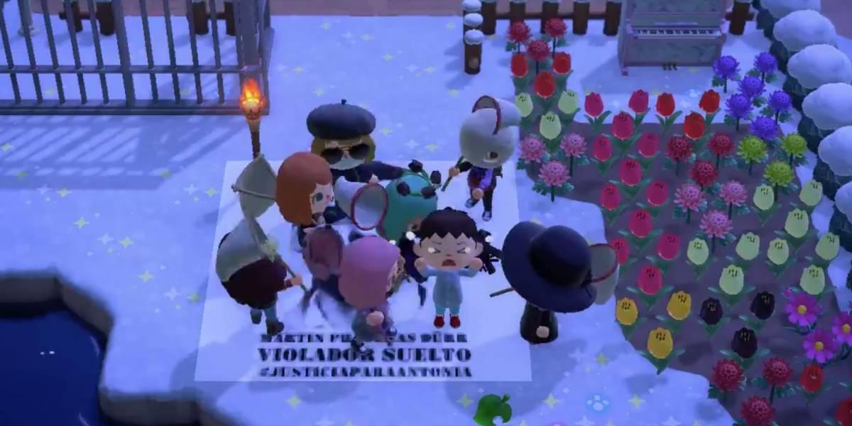 """Con performance de """"Las Tesis"""" y un linchamiento simbólico: protesta contra Martín Padrenas llegó a """"Animal Crossing"""""""