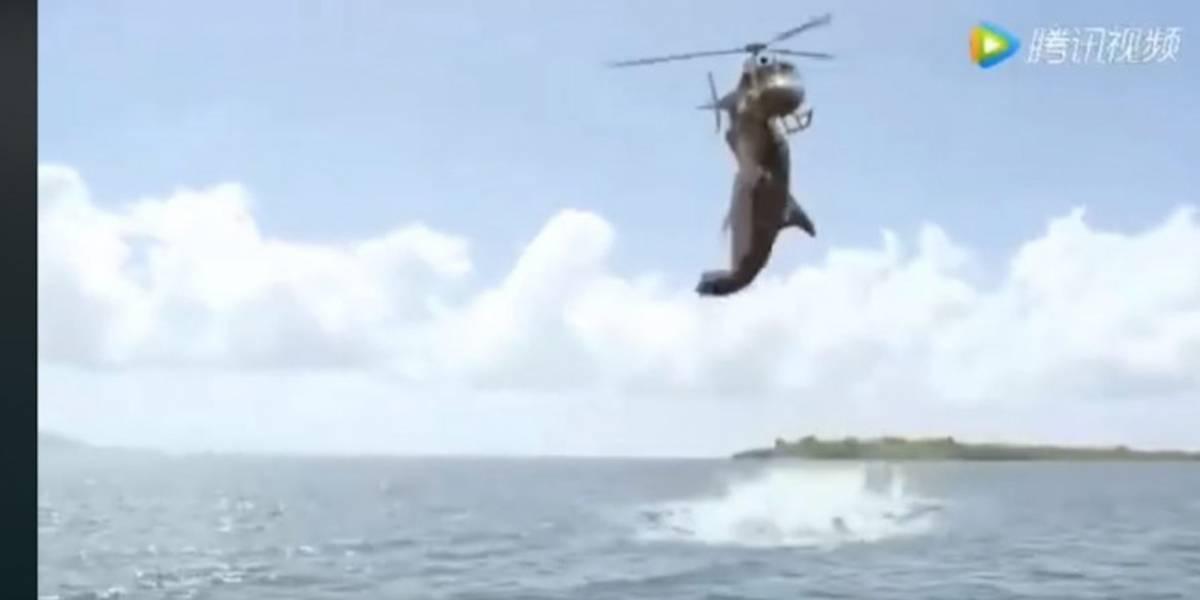 É falso vídeo viral que mostra tubarão 'atacando' helicóptero em praia