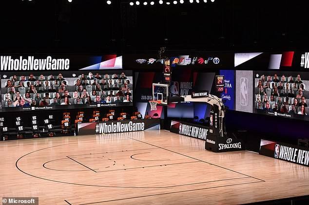 Las pantallas virtuales en los partidos de la NBA