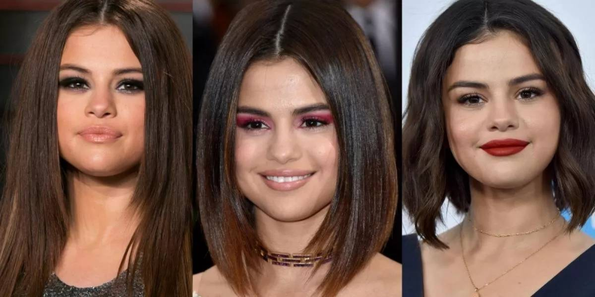 5 cortes de cabelo da Selena Gomez perfeitos para mulheres com rosto redondo