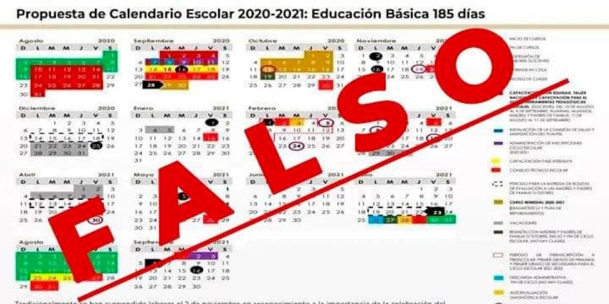 SEP advierte que es falso el calendario escolar que circula en redes sociales