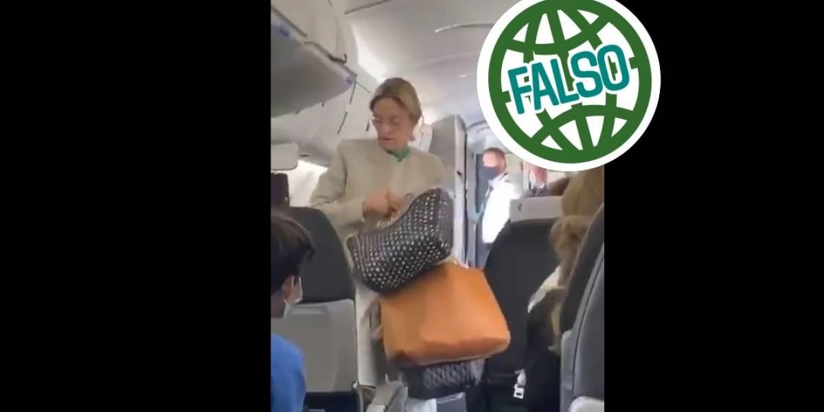 Falso que a cuñada de AMLO la hayan bajado de avión por no usar cubrebocas