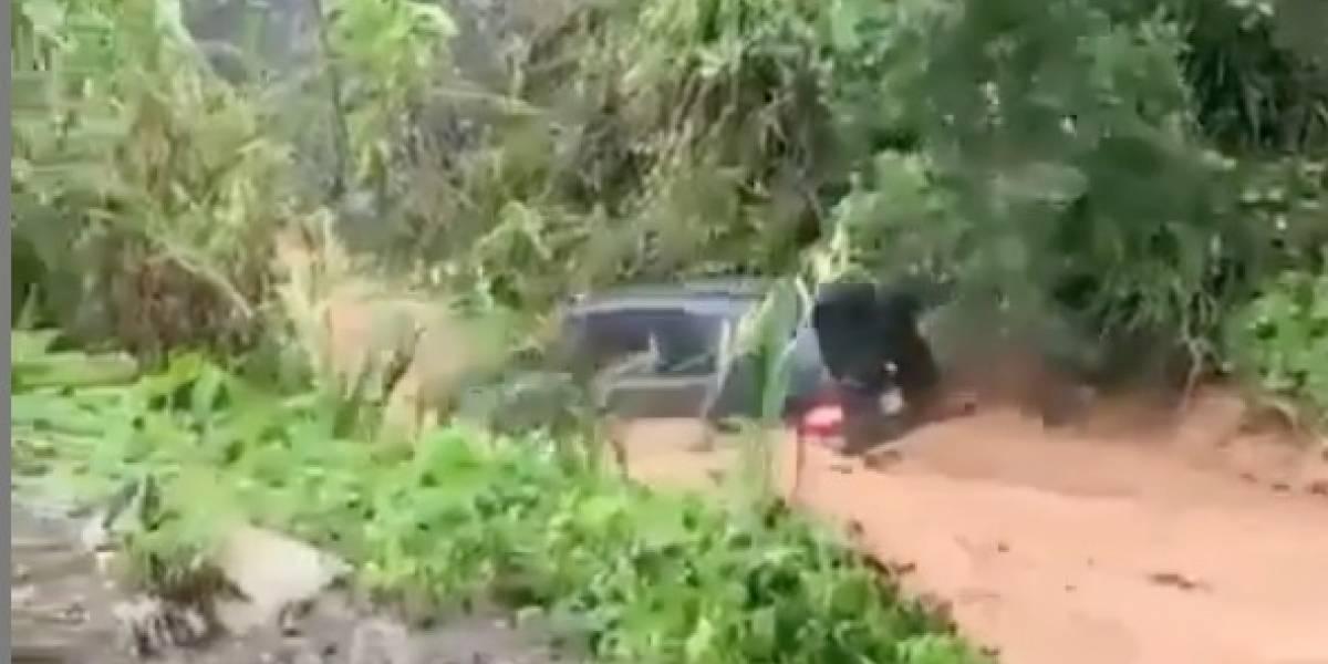 Vehículo se va arrastrado por la corriente en Mayagüez